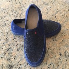 Brand new Ugg blue sparkly slip on shoes Brand new! Never worn. No box. Size 6. UGG Shoes Sneakers