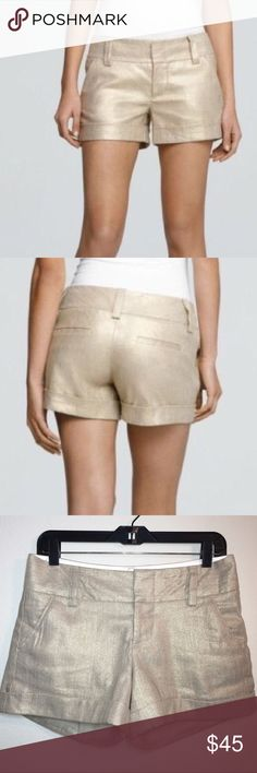 """Alice & Olivia Cady Cuff Gold Linen Shorts ✔️Linen/Cotton/Lycra Blend ✔️Cuffed Hem ✔️Large Belt Loops ✔️Hook and Eye Closure ✔️Slant Front Pockets ✔️Back Welt Pockets ✔️4"""" Inseam approx. ✔️Waist Laying Flat: 15.5"""" approx. ✔️Excellent Condition Alice + Olivia Shorts"""