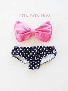 Bubble Gum Pink Bow Bandeau Bikini Style Top Navy Blue and white polka dot panties.Diva Halter neck top pin up ALL Cotton