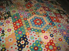 """Antique Vintage Crazy Button Flower Quilt Unfinished Hand Stitched Large 92x92"""" Hexagon Quilt, Hexagons, Quilting Frames, Antique Quilts, English Paper Piecing, Button Flowers, Quilt Patterns, Sewing Projects, Crafty"""