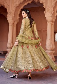 Buy Auspicious Beige Color Classic Net Designer Anarkali Suit Indian wedding salwar suits online in USA, UK, Canada, and Australia from VJV Fashions by Anarkali Gown, Anarkali Suits, Lehenga Choli, Punjabi Suits, Sarees, Bollywood Outfits, Bollywood Dress, Designer Anarkali, Designer Gowns