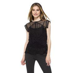 Women's Mesh Lace Top Black