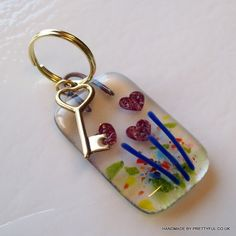 Fused glass flower heart - key to your heart