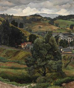 """Granite Sheds in Landscape,"" Luigi Lucioni, 1930, oil on board, 18 1/16 x 15 1/16"", Cleveland Museum of Art."