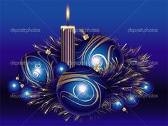 Blue And Gold Christmas Balls With Tinsel And Candle Royalty Free Christmas Tinsel, Christmas Candles, Christmas Balls, All Things Christmas, Vector Christmas, Gold Candles, Christmas Wallpaper, Christmas Inspiration, Shades Of Blue
