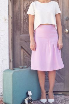 Lilac Pencil Skirt With Pleated Details By JOA   Please Don't Tell