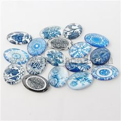 Wholesale Blue and White Floral Printed Glass Flatback Cabochons, Half Round/Dome, SteelBlue, Online Cheap Jewelry, Diy Jewelry, Jewelry Making, Amber Jewelry, Platinum Price, Diy Collier, Diy Accessoires, Silver Prices, Cabochon Settings