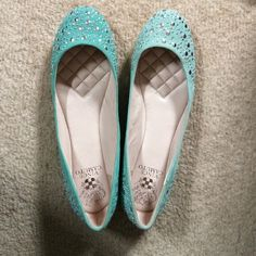 Vince Camuto Studded Flats Light turquoise flats with studs and jewels on the toe area and heel area. They have a slightly raised heel, are sturdy & have a cushioned lining. Vince Camuto Shoes Flats & Loafers