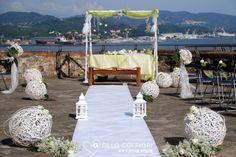 Allestimento pronto in attesa del rito civile al castello S.Giorgio curato da Dillo Coi Fiori Wedding