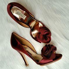 "Badgley Mischka Randall Pumps Badgley Mischka d'Orsay pumps in ""Bordo"" satin.  Gently worn. Great condition.  Size 10 Badgley Mischka Shoes"