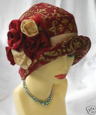 1920s VINTAGE INSPIRED RED CHENILLE CLOCHE HAT FLAPPER GREAT GATSBY DOWNTON