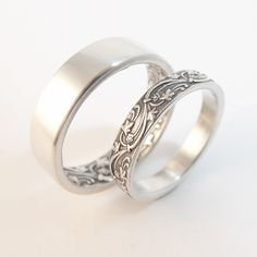 Opposites Attract - Art Deco wedding bands in pure sterling silver by Chuck Domitrovich of Down to the Wire Designs