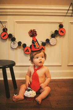 Mickey Birthday Hat Diaper Cover and Tie Set  by BibsBurpsNThings, $55.00