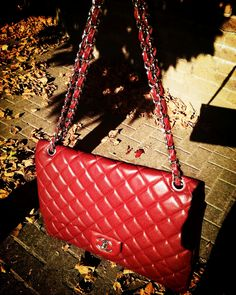 Chanel Flap Bag In Red. Classic Handbag At Affordable Price. #Chanel #Handbags