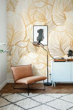 GREY Leaf Wallpaper Exotic leaves Wallpaper Large leaf Wall Mural Home Décor Easy install Wall Decal Removable Wallpaper Home Deco Deco Design, Wall Design, Design Trends, Design Art, Of Wallpaper, Leaves Wallpaper, Wallpaper Ideas, Bedroom Wallpaper, Gold Accent Wallpaper