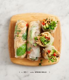 peanut soba spring rolls. Thanks for the idea! I love making these and always forget about them...great lunch idea and you can pack them with so many different things. Handling the rice roll takes a couple tries, but well worth the learning curve!
