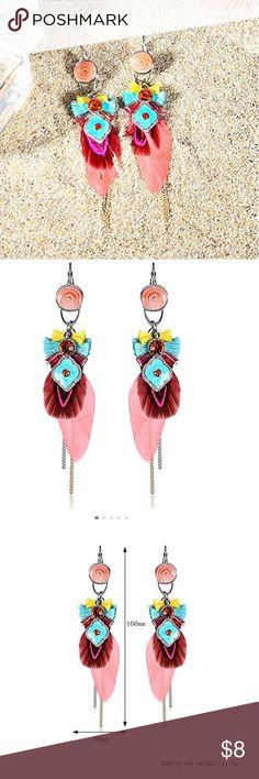 HANDMADE EARRINGS!! PINK PEACOCK HANDMADE FEATHER EARRINGS none Jewelry Earrings