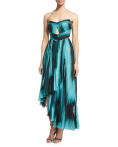 J. Mendel Strapless Pleated Silk Bustier Gown, Black/Jade