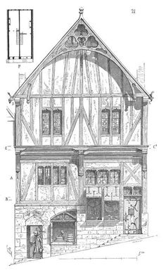 Dictionary of French architecture from the to the century / Maison - Wikisource French Architecture, Architecture Student, Architecture Drawings, Historical Architecture, Architecture Details, Medieval Houses, Medieval Life, Architect Jobs, Building Structure