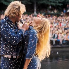 Sylvie Vartan & her husband Johnny Hallyday in Saint Laurent .