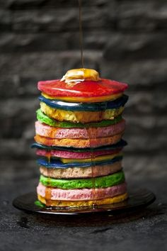 Rainbow Pancakes-Classic recipe with food coloring