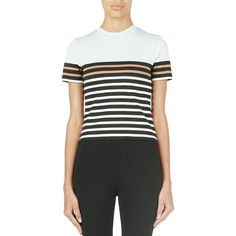 T by Alexander Wang Striped Crop Tee ($55) ❤ liked on Polyvore featuring tops, t-shirts, ice multi, crop tee, t by alexander wang, stripe t shirt, t by alexander wang tee and crop top