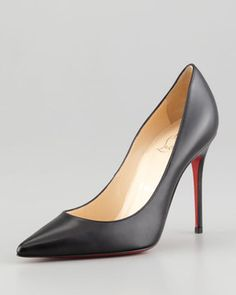 Christian Louboutin Decollette Pointed-Toe Red Sole Pump, Black on shopstyle.com