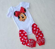 Baby Girl Minnie Mouse Bodysuit Onesie, Short Sleeve with Leggings sizes Newborn through 18 monthmonths
