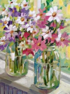 "Daily Paintworks - ""March News"" - Original Fine Art for Sale - © Libby Anderson Watercolor Flowers, Watercolor Art, Flowers In Jars, Fine Art Auctions, Arte Floral, Acrylic Art, Fine Art Gallery, Flower Art, Art Projects"