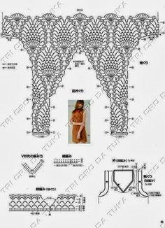 Fabulous Crochet a Little Black Crochet Dress Ideas. Georgeous Crochet a Little Black Crochet Dress Ideas. Crochet Stitches Chart, Crochet Diagram, Knitting Charts, Knitting Patterns, Crochet Patterns, Crochet Shirt, Crochet Crop Top, Knit Crochet, Pineapple Crochet
