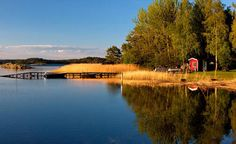 a small Finnish holiday cottage on the beach Archipelago, Mists, Calm, Cottage, Sky, River, Beach, Outdoor, Stockholm