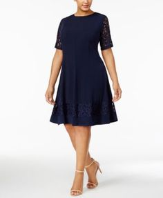 Jessica Howard Plus Size Lace-Sleeve Fit & Flare Dress | macys.com
