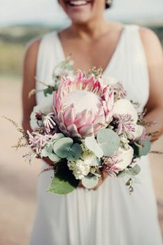 protea bridal bouquet wedidng flowers brides of adelaide magazine Flor Protea, Protea Bouquet, Protea Flower, Hydrangea Bouquet, Protea Wedding, Flower Bouquet Wedding, Floral Wedding, Casamento, Dresses