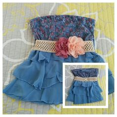 """Blue Floral Lace Ruffled Strapless Top Adorable! I wore this top once for my engagement pics/bridal shower! Delicate floral lace overlay bodice. Figure flattering tiers. Stretchy cloth belt w/lace roses is a sweet finishing touch! Belt has snap closures at back. Bust & waist are elastic banded. Not sure of exact size. I wore it when I was a Small/Med & 34C Bust. Please see measurements. Includes belt.  Bust: 14-17"""" Stretched.  Waist 13-16"""" Stretched.  Length: 17"""" Rue 21 Tops"""