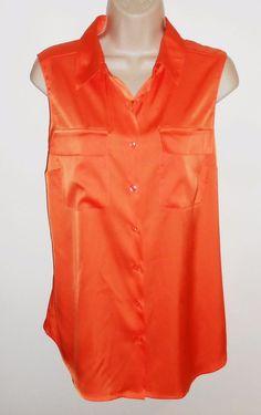 Jones New York M 10 Orange Blouse Sleeveless Silky Medium #JonesNewYork #Blouse