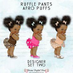 Ruffle broek natuurlijk haar Pony Tails Afro soezen African
