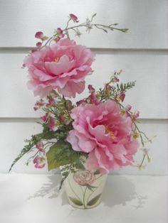 Pink Silk Peonies & artificial ferns