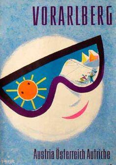 Austria Travel Ski Poster Vorarlberg Date: ca Vintage Ski Posters, Retro Poster, St Anton, Retro Illustration, Vintage Advertisements, Ads, Vintage Typography, Map Art, Illustrations Posters