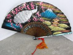 Antique Asian hand painted fan