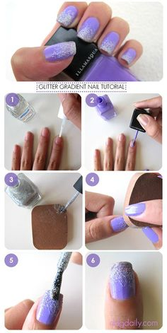 How to create gorgeous lilca / lavendar and silver glitter nail art at home (so