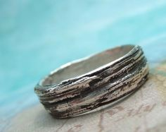 Rustic Tree Bark Ring, Unisex Jewelry, Eco Friendly Recycled Silver Bark Ring, Wood Grain Bark Silver Ring, Size 4 5 6 7 8 9 10 11 12 13 14