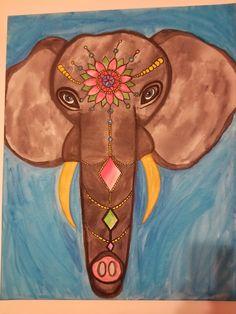 'royal Elephant'; Watercolor On Canvas [30x20]