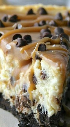 Salted Caramel Chocolate Chip Cheesecake,