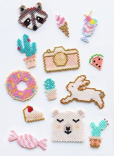 These would super cute with Perler beads - Best DIY and Crafts 2019 Easy Perler Bead Patterns, Diy Perler Beads, Perler Bead Art, Pearler Beads, Fuse Beads, Hama Perler, Loom Beading, Beading Patterns, Loom Patterns
