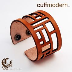 panes...leather laser cut cuff bracelet. .