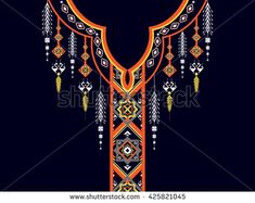Boho Embroidery Geometric ethnic pattern Floral neck embroidery design for background,wallpaper,clothing and wrapping. Geometric Embroidery, Embroidery Motifs, Learn Embroidery, Vintage Embroidery, Machine Embroidery Designs, Couture Embroidery, Shirt Print Design, Beading Patterns Free, Ethnic Patterns