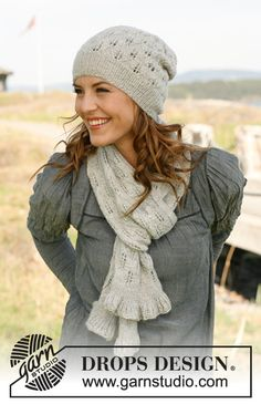 "Set consists of: Knitted DROPS scarf and hat with lace pattern in ""Alpaca"". ~ DROPS Design"