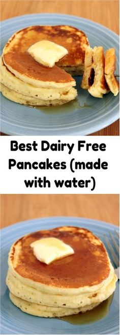 Best Dairy Free Pancakes Fluffy & made with water not milk #dairyfree #breakfast #pancakes