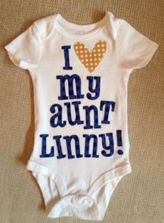 New Aunt Gifts for Her from the Baby Boy:  Personalized & Handmade I Heart Love My Aunt Name Baby Onesie Bodysuit by The Fruit of the Spirit @ Etsy