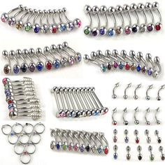 100+Pcs+316L+Stainless+Steel+Crystal+body+jewelry+belly+tongue+lip+piercing+Ring+#Unbranded